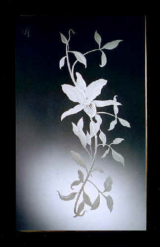 Etched and Carved Glass Panel